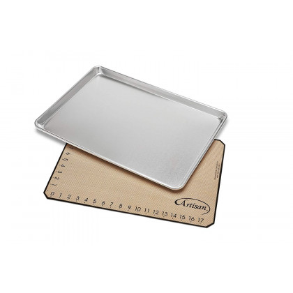 "Large Aluminum Sheet Pan 21"" x 15"" and Silicone Baking Mat"