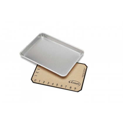 "Small Aluminum Sheet Pan 13"" x 9.5"" and Silicone Baking Mat"