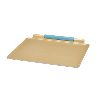 Gold-Coated Aluminum Cookie Sheet with Silicone Handle