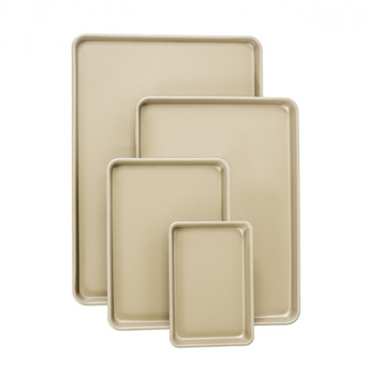 "Extra Small Gold-Coated Nonstick Sheet Pan 6.5"" x 9.5""x 1"" (3 Pack) NSF"