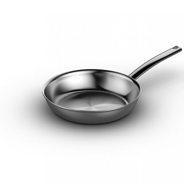 8-inch Natural Fry Pan In 5-ply brushed stainless steel